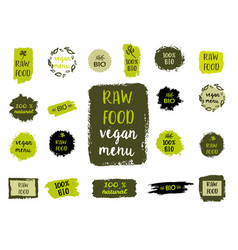Healthy food labels hand drawn logo templates vector
