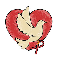 Heart with dove of peace icon vector
