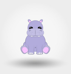 Hippo baby icon flat vector