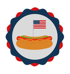 hot dog and flag american food celebration vector image