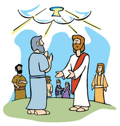 Jesus gives peter keys to the kingdom of heaven vector