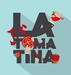 La tomatina typography design vector