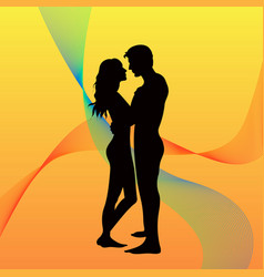landscape of couple in a sunset vector image