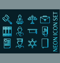 law set icons blue glowing neon style vector image