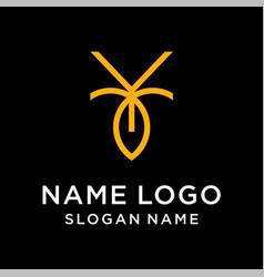 letter y leaf logo vector image