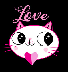 loving kitten with a heart vector image