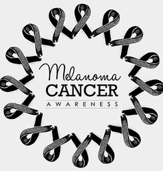 Melanoma cancer awareness ribbon design with text vector