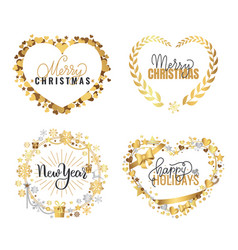 merry christmas happy new year festive greetings vector image