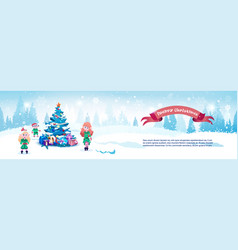 Merry christmas horizontal banner cute elfs neat vector