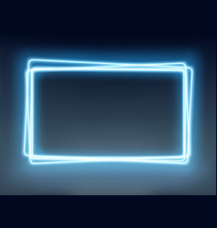 neon blue glowing frame on a dark background vector image