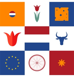 Netherlands Icon set vector image