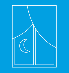 Night view from the window icon outline style vector