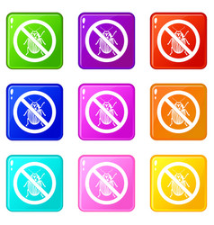 No potato beetle sign icons 9 set vector