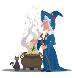 Old witch with a cat cooks a decoration vector