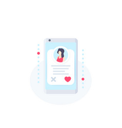 Online dating app icon with girl profile vector