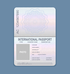 open passport template vector image