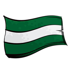 Painted andalusia flag waving in wind vector