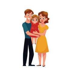 parents mom and dad holding little daughter vector image
