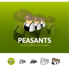 Peasants icon in different style vector image