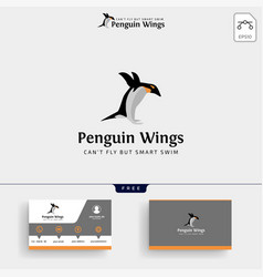 penguins logo template and business card vector image