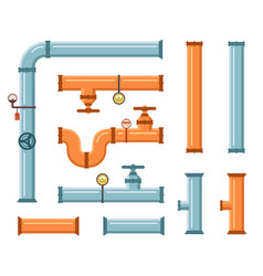 Pipes set for plumbing or construction industry vector