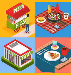 Pizzeria isometric design concept vector