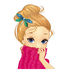 Portrait girl with dragonfly brooch vector