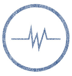 pulse signal rounded fabric textured icon vector image