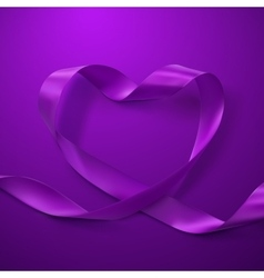 Purple Ribbon Heart vector