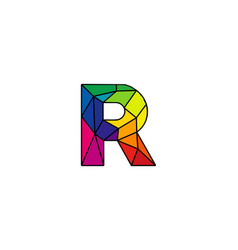 R colorful low poly letter logo icon design vector