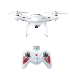 Realistic Drone With Radio Controller vector image