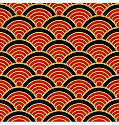 Red black gold traditional wave japanese vector