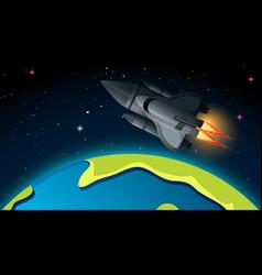 Rocket and earth scene vector
