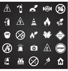 safety and prohibition signs set on black vector image