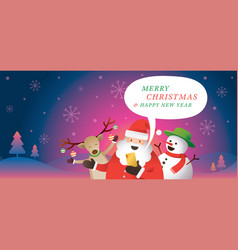 santa claus and friends use smartphone online vector image