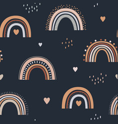 seamless childish pattern with hand drawn rainbows vector image
