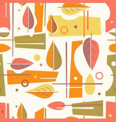 Seamless mid century modern autumn pattern vector