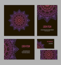 set ethnic circle pattern of corporate identity vector image