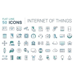 Set flat line icons internet things vector