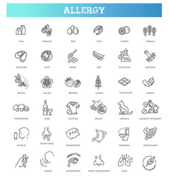 Set line icons of allergy food and pollen vector