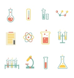 set of flat science icons vector image