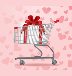 Shopping cart with present inside vector