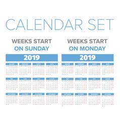 simple 2019 year calendar set vector image