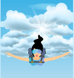 Skydiver woman flying in the blue cloudy sky vector