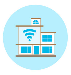 Smart house icon on blue background modern home vector
