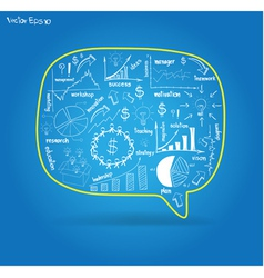 Speech bubble with drawing business plan vector