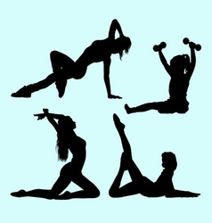 sport girls activity silhouette vector image