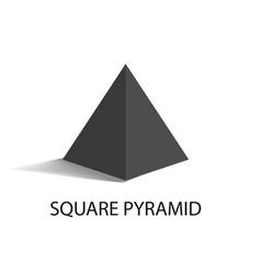 Square pyramid geometric figure in black color vector