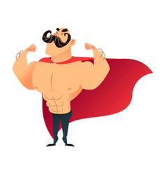 Strong cartoon funny superhero power super hero vector