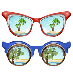 sunglasses reflecting tropical island vector image